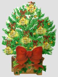 Die-cut Kerst kaart: Boom met lantaartjes [XC-3461]