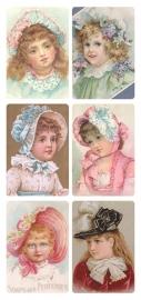 Meisjes met hoedjes poezieplaatjes Stickers Y167