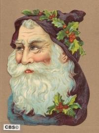 Kerstman blauw met hulst poezieplaatjes 5096
