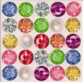 Kerstballen kleurige poezieplaatjes Stickers K87