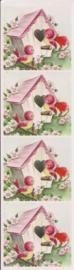 Vogelhuisjes poezieplaatjes Stickers Strip QT31