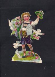 Jongetje met duiven antiek poezieplaatje met zijde (133)