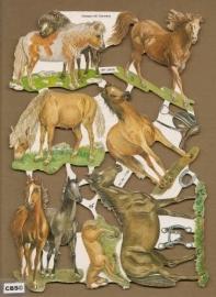 Paarden met hoefijzer en zadel poezieplaatjes 7199