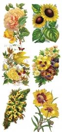 Boeketten geel poezieplaatjes Stickers Y109