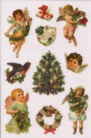 Glitter Poezieplaatjes Kerst stickers Engelen en kerstboom