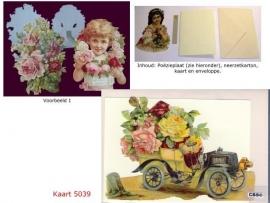 Sierkaart 5039: Ouderwetse auto met bloemen Poëzieplaatjes