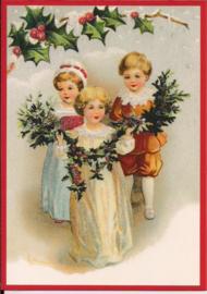 Kinderen versieren met hulst Glitter prentbriefkaart [SV 6Wg107]