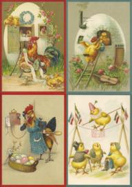 Set met 12 nostalgische Pasen prentbrief Paaskaarten [M10]
