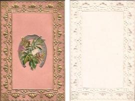 Antieke kaart met poezieplaatje Hoefijzer goudopdruk