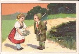 Oude Litho: jager met meisje in het bos