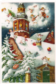 Adventskalender Kaart: Engelen luiden de Kerstklokken in Kerk - 12421