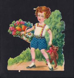 Jongen met teddybeer antiek poezieplaatje (156)