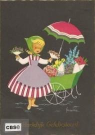 Bloemen verkopen - oude Krüger kaart poezieplaatjes Frankie [10223]