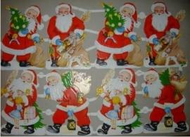 Acht Kerstmannen oude poezieplaatjes 3144