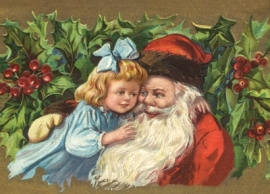 Snoezig meisje knuffelt Kerstman Reliefkaart EF 3035