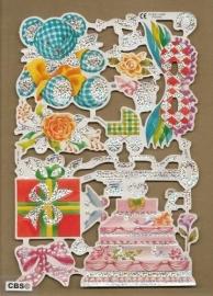 F3013: Feest bruiloft geboorte poezieplaatjes met glinsterfolie