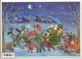 Adventskalender Kaart: Kerstman op Arreslee - 492