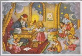 Adventskalender Kaart: Engelen lezen verlanglijstjes - 12490