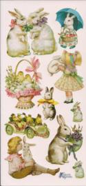 Vrolijke paas poezieplaatjes Stickers P62
