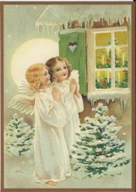 Engeltjes kijken naar de kerstboom Glitter prentbriefkaart [SV 6Wg021]