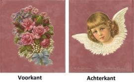 Poeziealbum met ouderwetse plaatjes oud roze