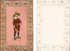 Antieke kaart met poezieplaatje Kindje sport goudopdruk