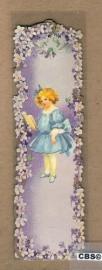 Nostalgische boeklegger meisje blauw met viooltjes (poëzieplaatjes)