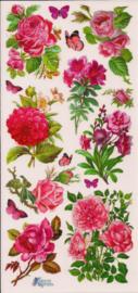 Bloemboeketjes roze poezieplaatjes Stickers C73
