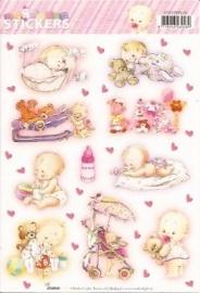 Baby meisje geboorte stickers SL05