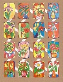 Zulia 2 oude Spaanse poezieplaatjes Bloemen