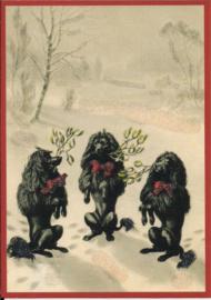 Hondjes onder Mistletoe Glitter prentbriefkaart [SV 6vg029]