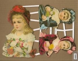 Drie ouderwetse kinderen poezieplaatjes GL7103