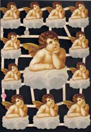 Dromerige Engeltjes op wolk poezieplaatjes 7158