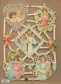 Lieflijke engelen met bloemen religie poezieplaatjes 7353
