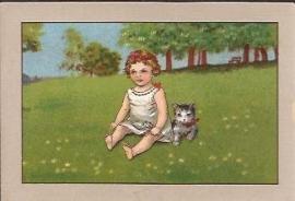Oude Litho: meisje met kitten