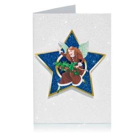 Glitter 3D Ster Kerst kaart: Engel met hulst [XC-5483]