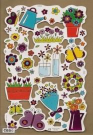 F3004: Bloemen en tuinieren poezieplaatjes met paarsfolie