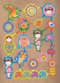 Hippe kleurige Matroesjka, uiltjes, vogeltjes poezieplaatjes