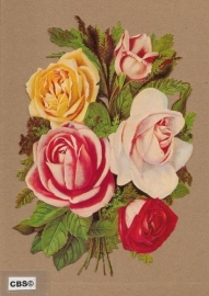 Gemengd rozen boeket poezieplaatjes 5003
