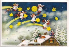 Adventskalender Kaart: Engelen in de lucht met pakjes - 12419