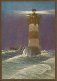 Vuurtoren in de zee Glitter prentbriefkaart [SV 6gg090]