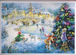 10387  Adventskalender Schaatsen in kerst landschap
