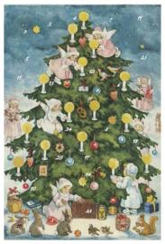 Adventskalender Kaart: Engelen versieren kerstboom - 12403