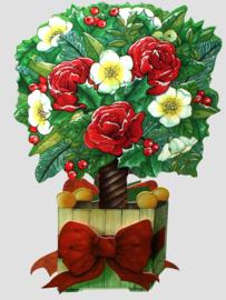 Die-cut Kerst kaart: Boom met bloemen [XC-3465]