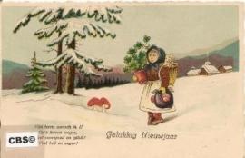 Geluk brengen - oude nieuwjaarskaart 1933 [10157]