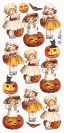Kindjes in pompoenen poezieplaatjes Stickers P36