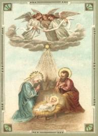 Engelen bij Jozef, Maria en Kindje Jezus Reliefkaart EF 3006