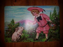 Placemat poezieplaatjes Jongetje met paaseieren en konijn