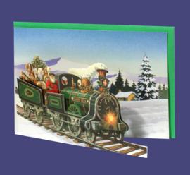 Mini 3D geschenk kaart: De kersttrein [XG-5492]