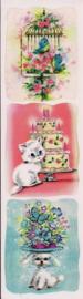 Gezellige vrolijke poezieplaatjes Stickers Strip QT34